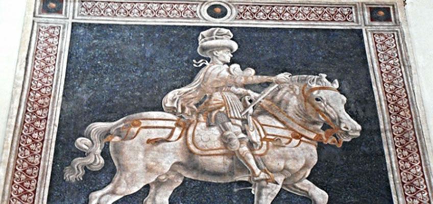Andrea del Castagno. Monumento ecuestre a Noccolò da Tolentino, 1456