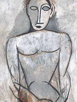 Picasso. Mujer con las manos juntas (estudio para Las señoritas de Aviñón), 1907.