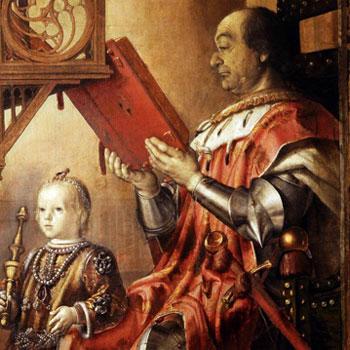 Pedro Berruguete. Federico Montefeltro y su hijo Guidobaldo, 1474-1477. Palacio Ducal de Urbino