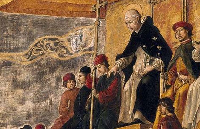 Pedro Berruguete. Auto de Fe presidido por Santo Domingo de Guzmán, 1493-1499