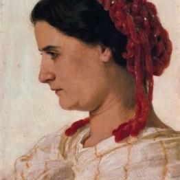 Retrato de Angela Böcklin con redecilla roja en el pelo, 1863