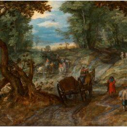 Jan Brueghel el Viejo. Bosque con carretas atravesando un arroyo y jinetes, hacia 1607. Museo Nacional del Prado