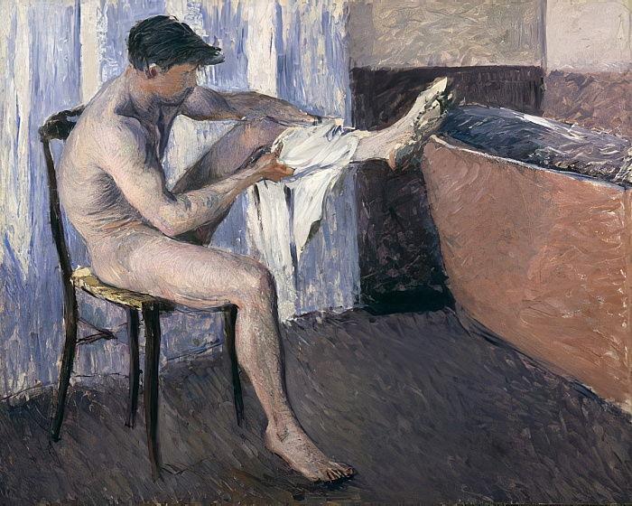 Gustave Caillebotte. Hombre secándose la pierna, 1884. Galería Brame & Lorenceau, París