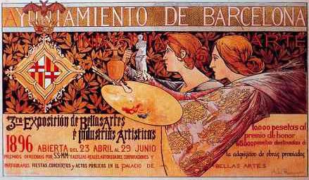 Alexandre de Riquer. Cartel para la 3ª Exposición de Bellas Artes e Industrias Artísticas, 1896