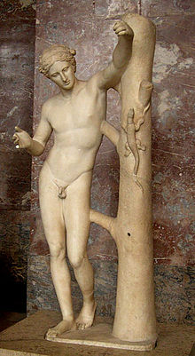 Praxíteles. Apolo sauróctonos, ss I-II. Musée du Louvre