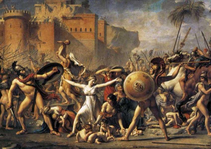 Jacques-Louis David. El rapto de las sabinas (fragmento), 1799. Museo del Louvre