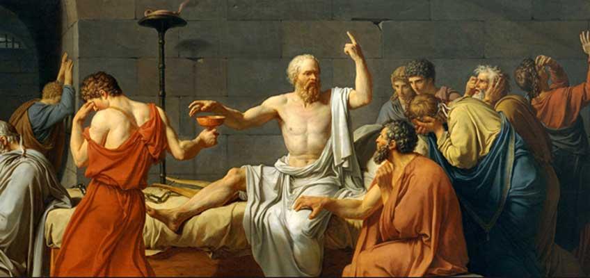 Jacques-Louis David. La muerte de Sócrates (fragmento), 1787. Metropolitan Museum of Art