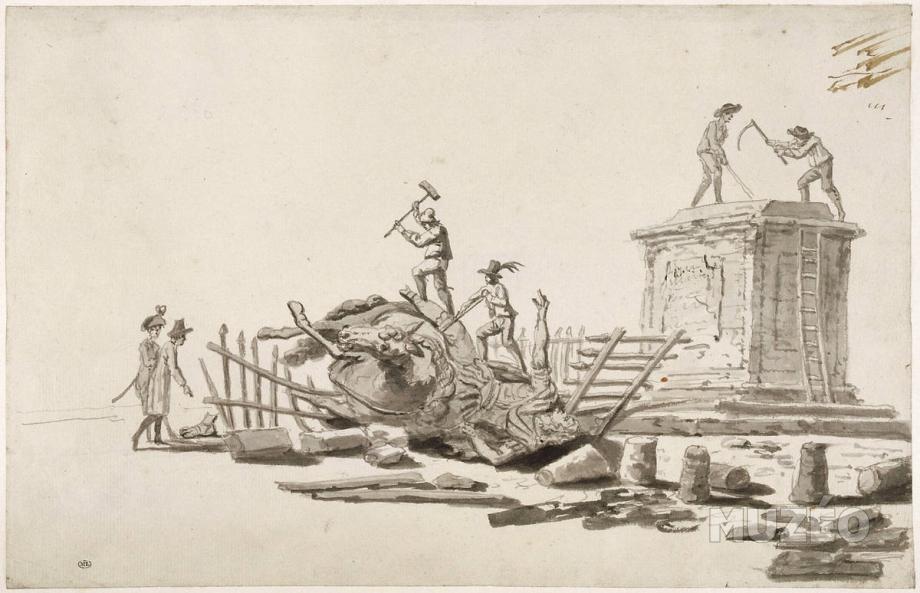 Jacques Bertaux. Destrucción de la estatua ecuestre de Luis XIV, 1792. Musée du Louvre