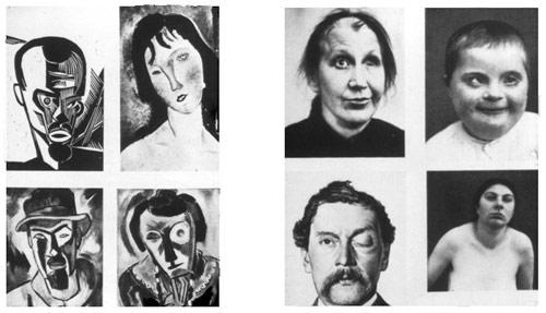 """Doble página en la que se comparan detalles de cuadros de la """"escuela moderna"""" con fotografías de enfermos físicos y mentales, de Paul Schulze-Naumburg. Kunst und Rasse, Múnich, 1928"""