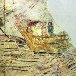 Jesús y Pedro caminan sobre las aguas. Dura Europos