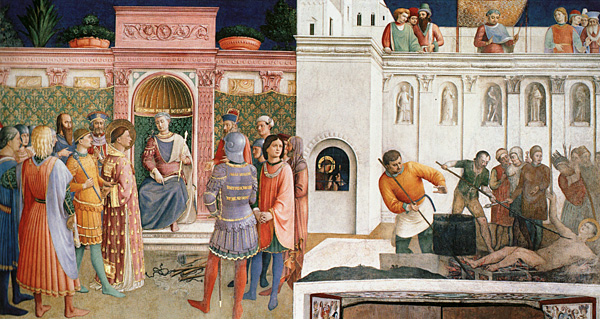 Fra Angelico. Martirio y condena de San Lorenzo, 1447. Capilla de Nicolás V
