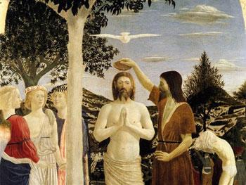 Piero della Francesca. Bautismo de Cristo, hacia 1440. National Gallery, Londres