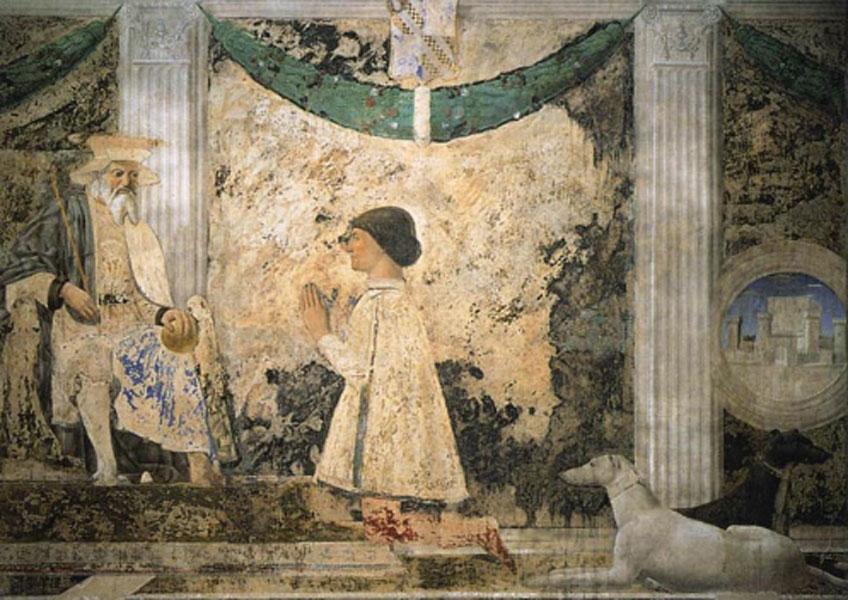 Piero della Francesca. Sigismondo Pandolfo Malatesta orando frente a san Segismundo, 1451