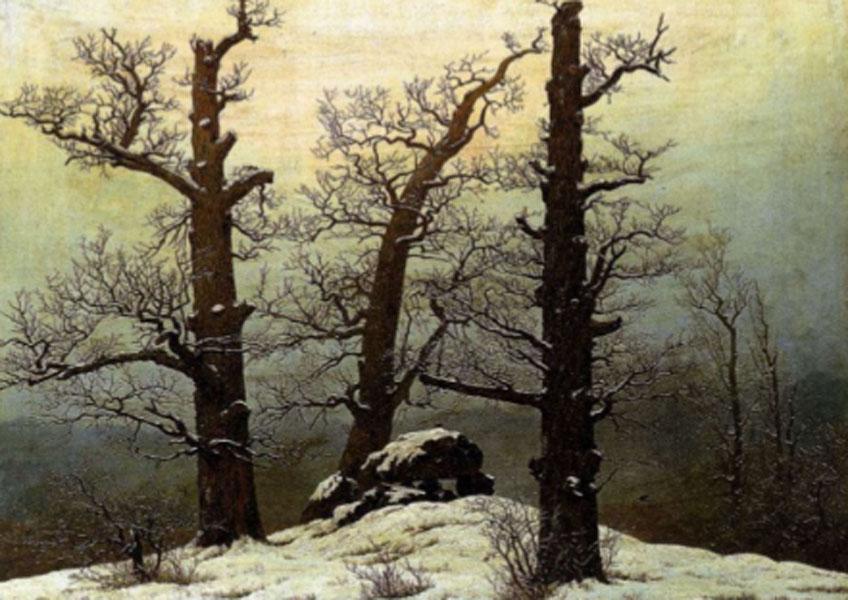 Friedrich. Túmulo megalítico en la nieve, 1807. Staatliche Dresden
