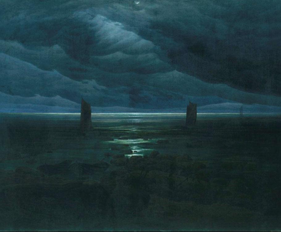 Friedrich. Mar al claro de luna