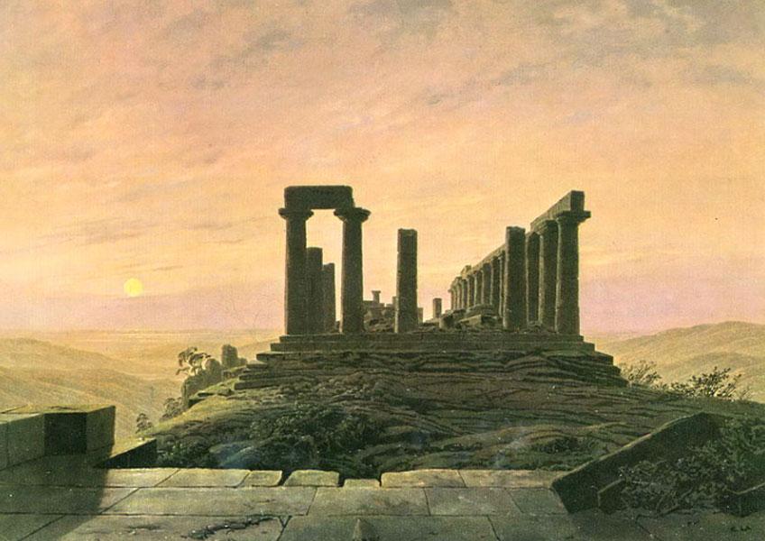 Friedrich. Templo de Juno en Agrigento, 1828-1830. Museum für Kunst und Kulturgeschichte, Dortmund