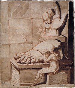 Füssli. El artista desesperado ante los fragmentos de una ruina clásica, 1770-1780