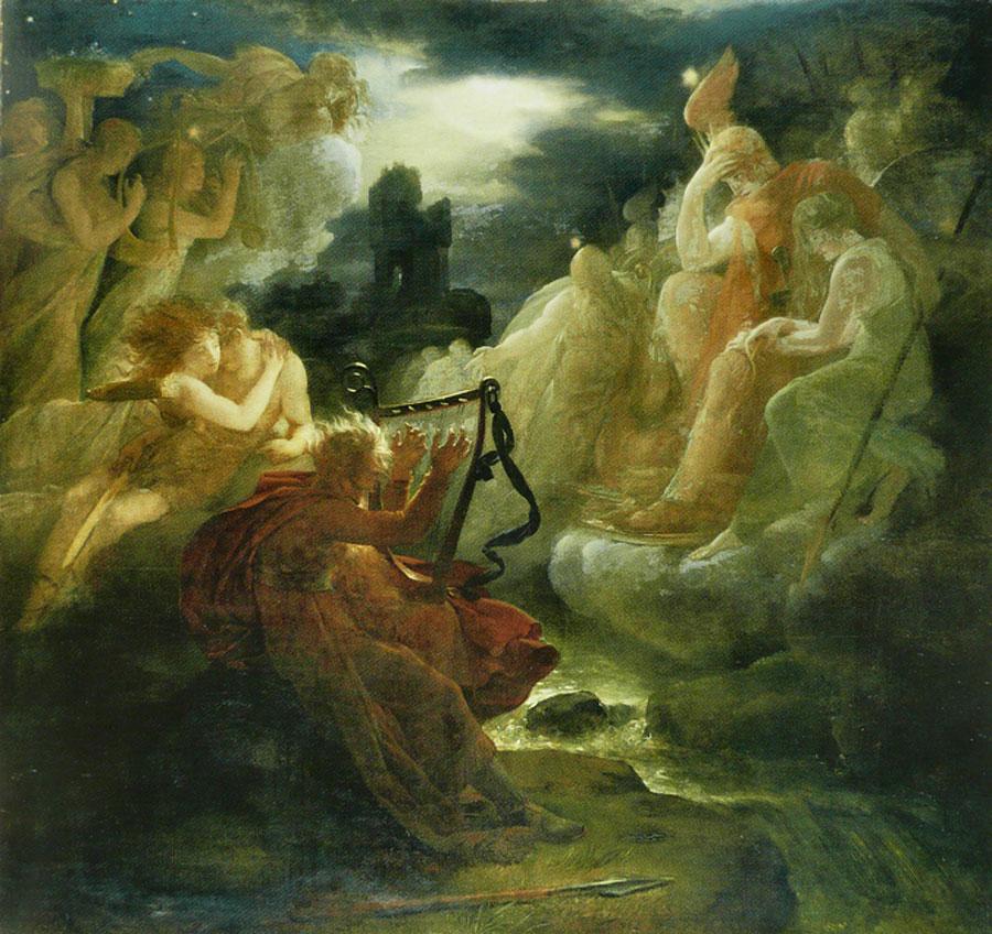 François Gerard. Ossian evoca los fantasmas con el sonido del arpa al borde del Loira, 1801. Hamburger Kunsthalle