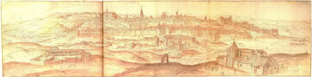 Anton van den Wyngaerde. Vista de Toledo, 1563-1570. Viena, Österreichische Nationalbibliothek