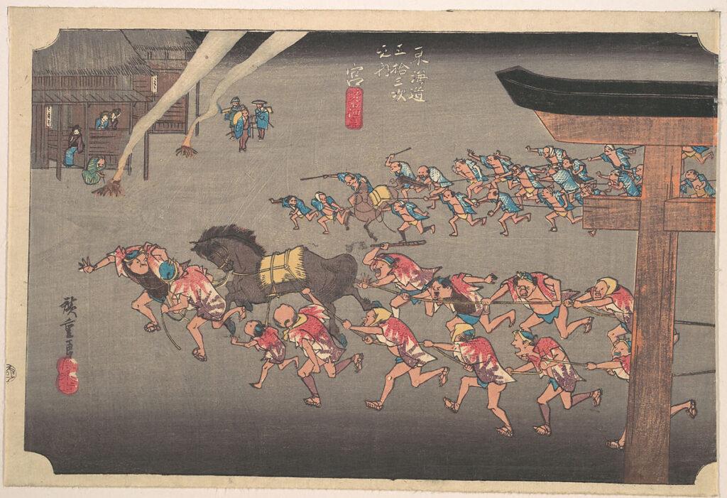 Hiroshige. Umaoi en el santuario de Atsuta, estación de Miya, 1832-1834
