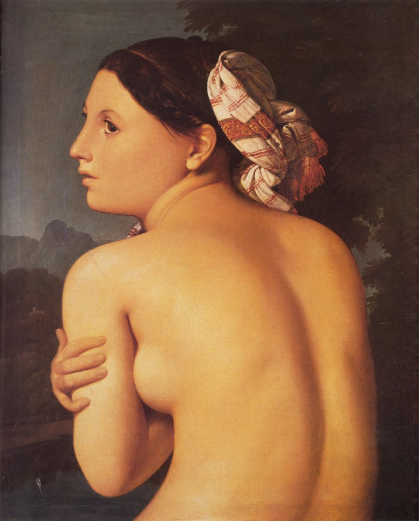 Pintores del Romanticismo. Ingres. Bañista (desnudo femenino), 1807. Fragmento