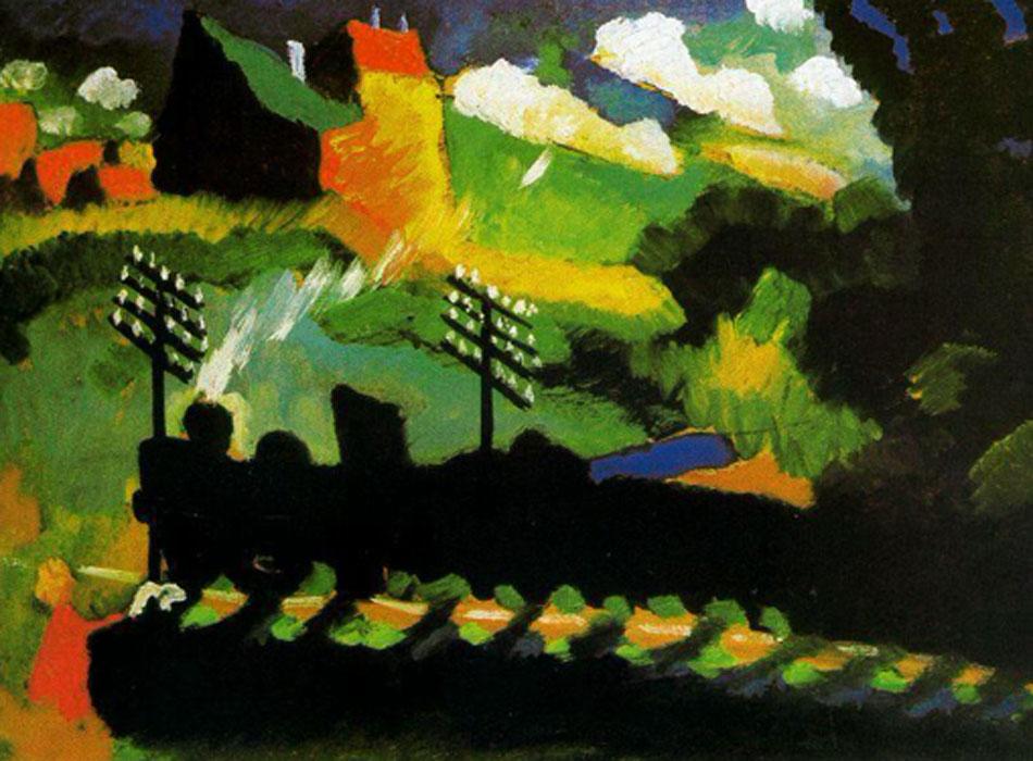 Kandinsky. Murnau-vista con ferrocarril y castillo, 1909. Städtische Galerie im Lenbachhaus, Múnich