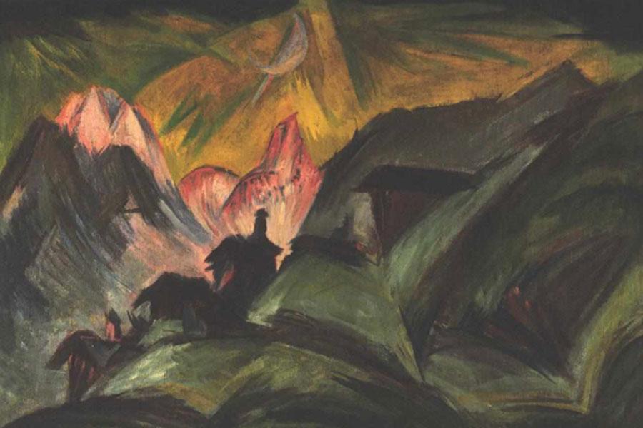 Kirchner. Stafelalp a la luz de la luna, 1915.
