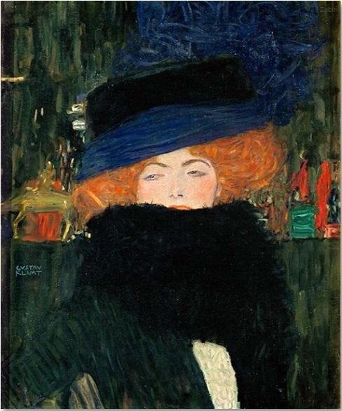 Gustav Klimt. Dama son sombrero y boa, 1909. Colección privada
