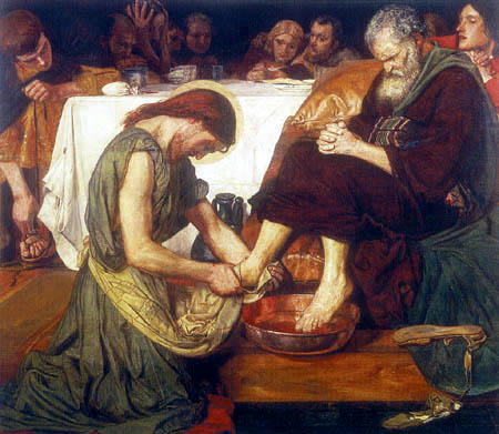 Madox Brown. Jesús unge los pies de San Pedro, 1852-1856