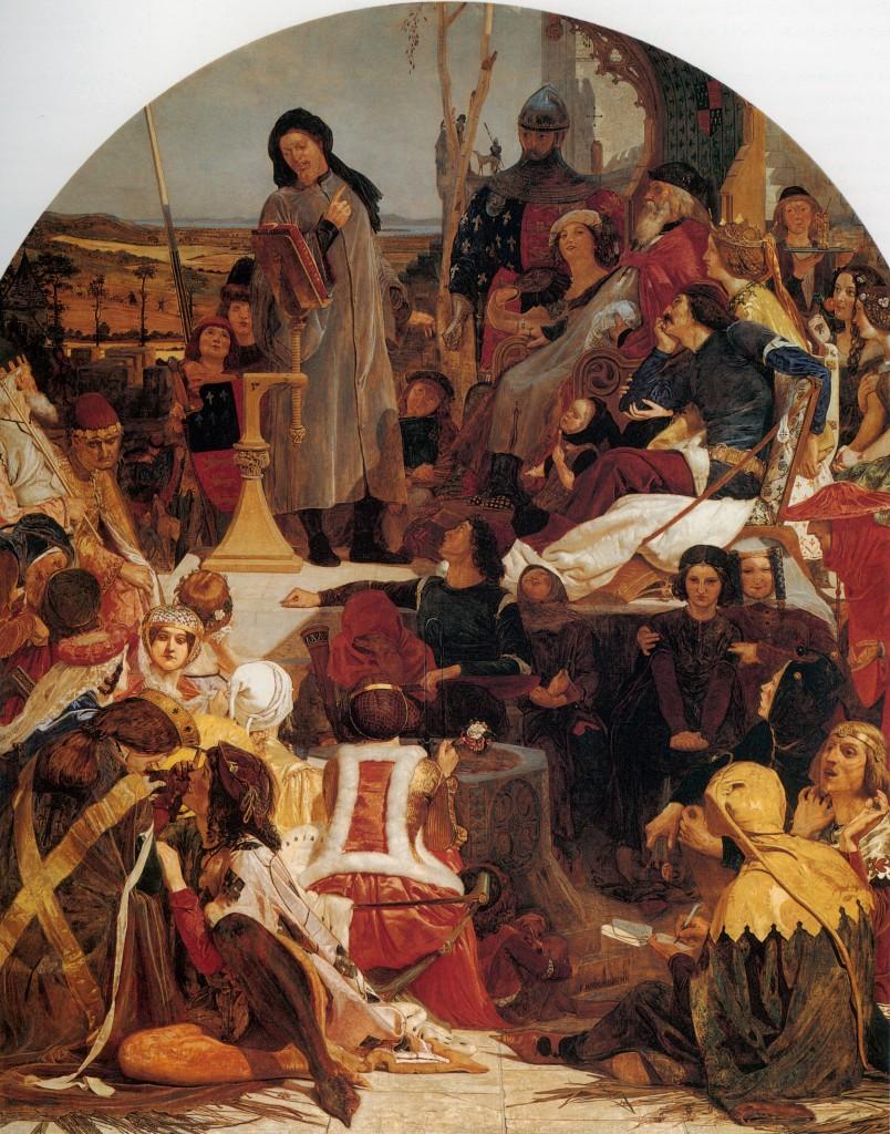 Madox Brown. Chaucer leyendo sus obras en la corte de Eduardo III, 1867-1868