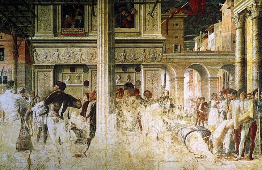 Mantegna. Martirio y traslado del cuerpo decapitado de san Cristóbal, 1454-1457. Capilla Ovetari, Padua