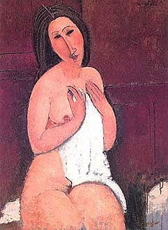 Amedeo Modigliani. Desnudo sentado con camisa, 1917