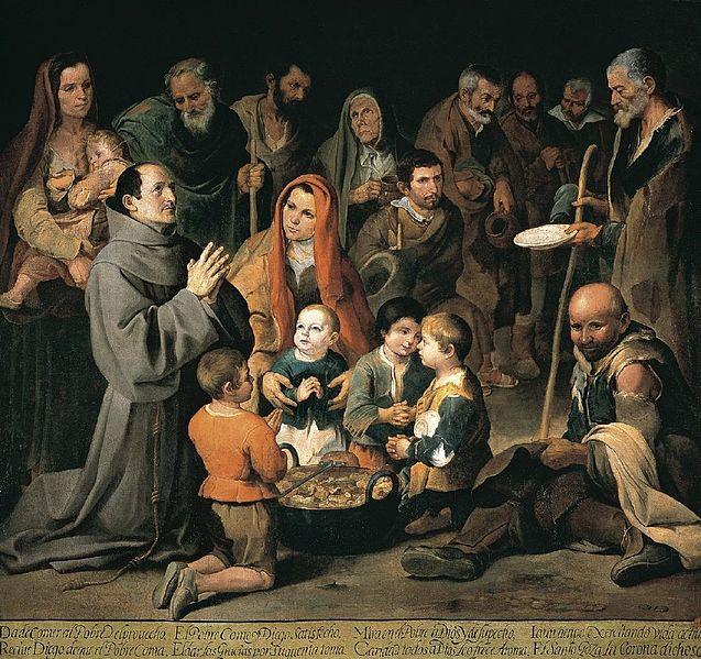 Murillo. San Diego dando de comer a los pobres, hacia 1645. Real Academia de Bellas Artes de san Fernando
