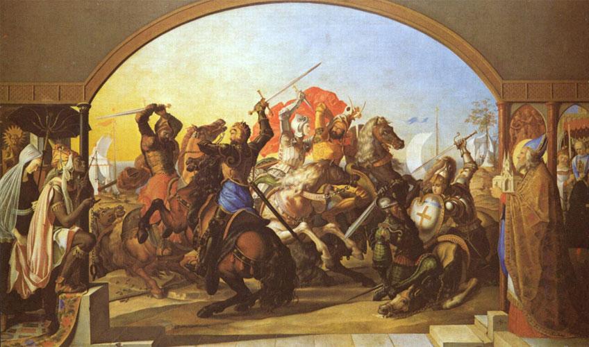Julius Schnorr von Carolsfeld. Lucha de los jefes francos y sarracenos en la isla de Lipadusa, 1816