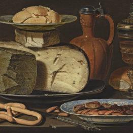 Clara Peeters. Bodegón con quesos, almendras y panecillos, 1612-1615. Mauritshuis