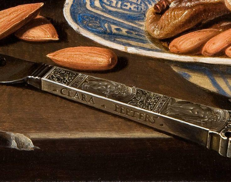 Clara Peeters. Bodegón con quesos, almendras y panecillos (detalle), 1612-1615. Mauritshuis