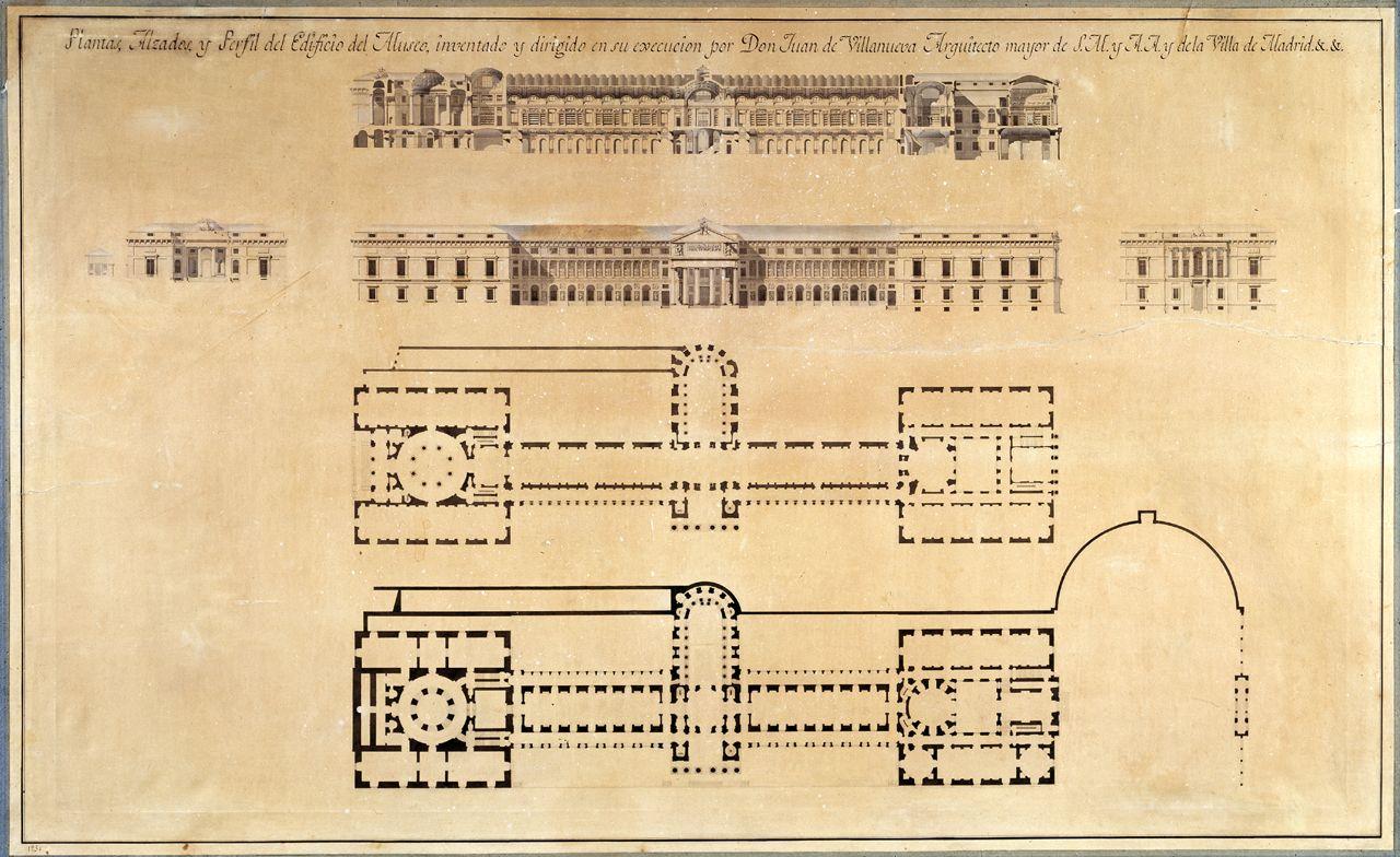 Plantas, alzados y perfil del edificio del Museo, inventado y dirigido en su execución por Don Juan de Villanueva Arquitecto Mayor de S.M. y A.A. y de la Villa de Madrid