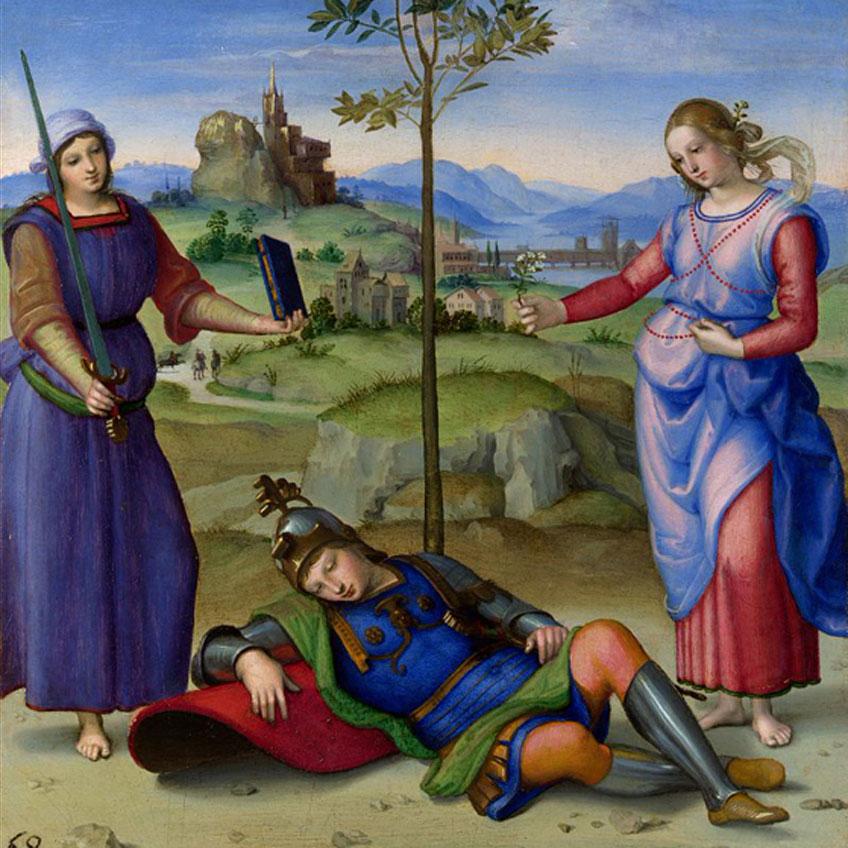 Rafael. El sueño del caballero, 1504. National Gallery, Londres