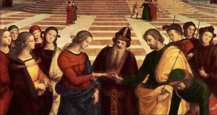 Rafael. Los desposorios de la Virgen (detalle), 1504. Pinacoteca Brera, Milán
