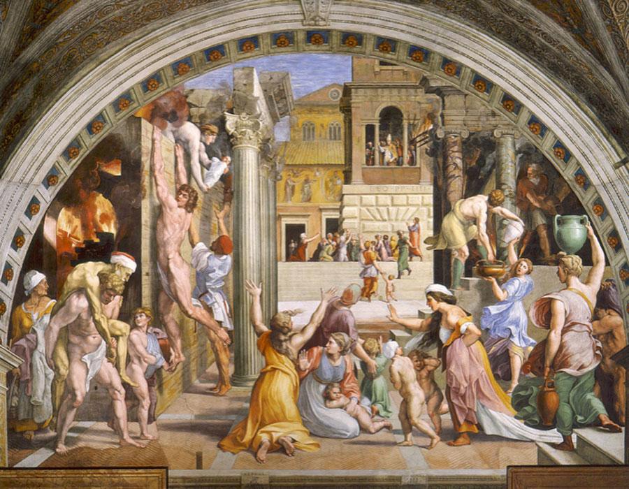 Rafael y Giulio Romano. Incendio del Borgo, hacia 1514