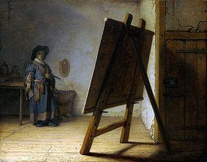 Rembrandt. El pintor en su estudio, hacia 1626