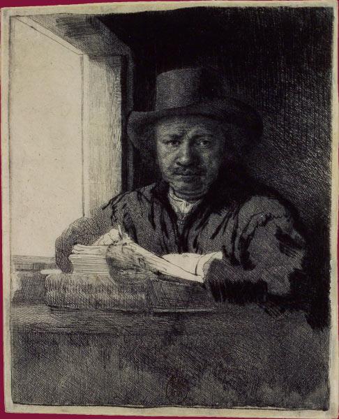 Rembrandt. Autorretrato dibujando junto a una ventana, 1648
