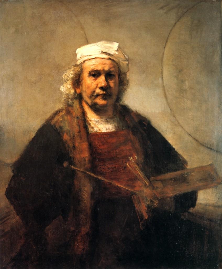 Rembrandt. Autorretrato con paleta y pinceles, hacia 1660-1665