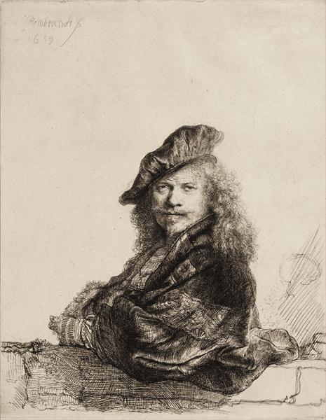Rembrandt. Autorretrato apoyando el brazo en un pretil, 1639