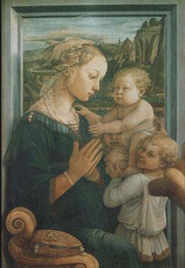 Filippo Lippi. Virgen con el Niño Jesús y dos ángeles, hacia 1465. Uffizi