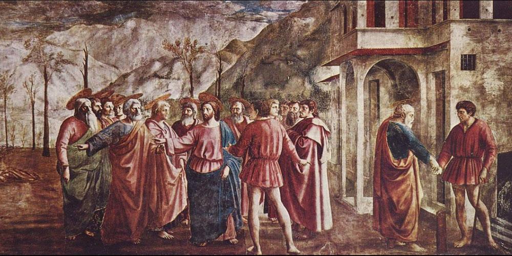 Masaccio. El pago del tributo, 1424-1427. Santa María del Carmen, Florencia