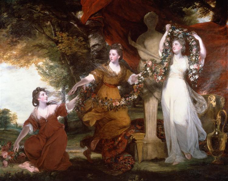 Joshua Reynolds. Hijas de Sir William Montgomery o Tres mujeres adornando la columa de Himeneo, 1773