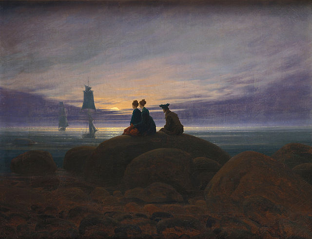 Friedrich. Puesta del sol sobre el mar, 1822