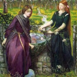 Dante Gabriel Rossetti. Visión de Dante de Raquel y Leah, 1855