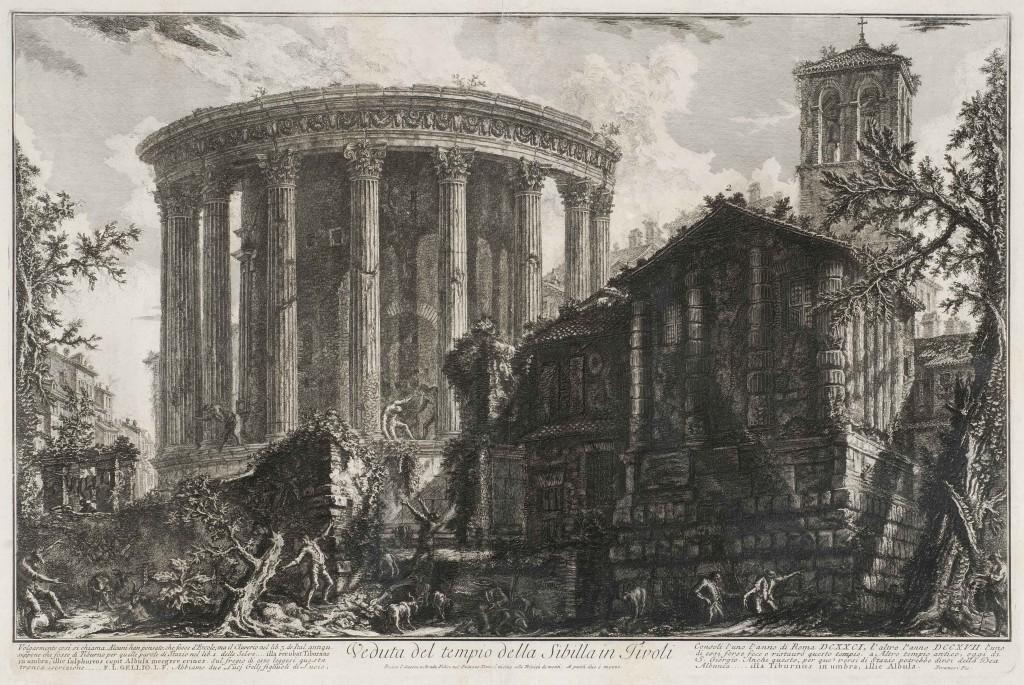 Piranesi. Vista del templo de la Sibila en Tívoli